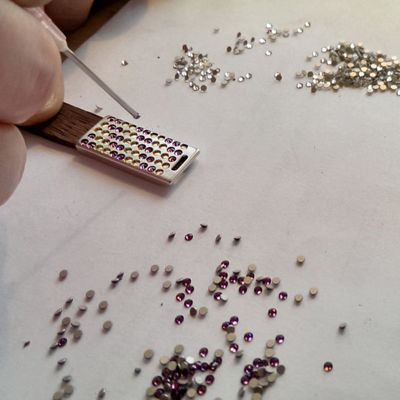 Manually matching Swarovski crystals